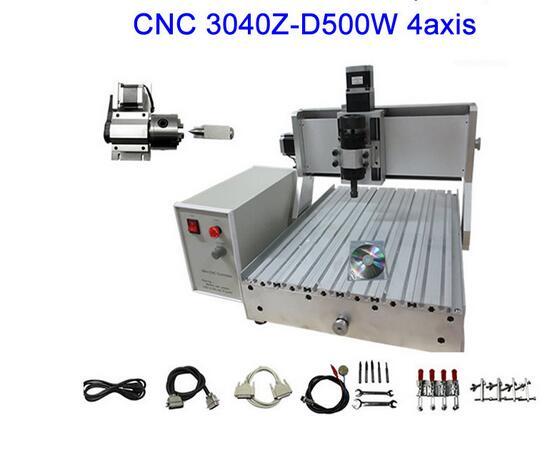 EU no tax! newest 4 axis CNC Router Engraver Engraving Drilling Machine LY CNC3040Z-D500W high quality 3040 cnc router engraver engraving machine frame no tax to eu