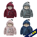 New Winter Children Cute Boys Thick Velvet Long-sleeved Sweater Suit Small Cartoon The kids cartoon thick clothes
