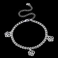 925 sterling silver Jewelry Anklets Rose Flower Ankle Bracelet Cheville Beads Barefoot Sandals Women Girls Foot Fashion Jewelry