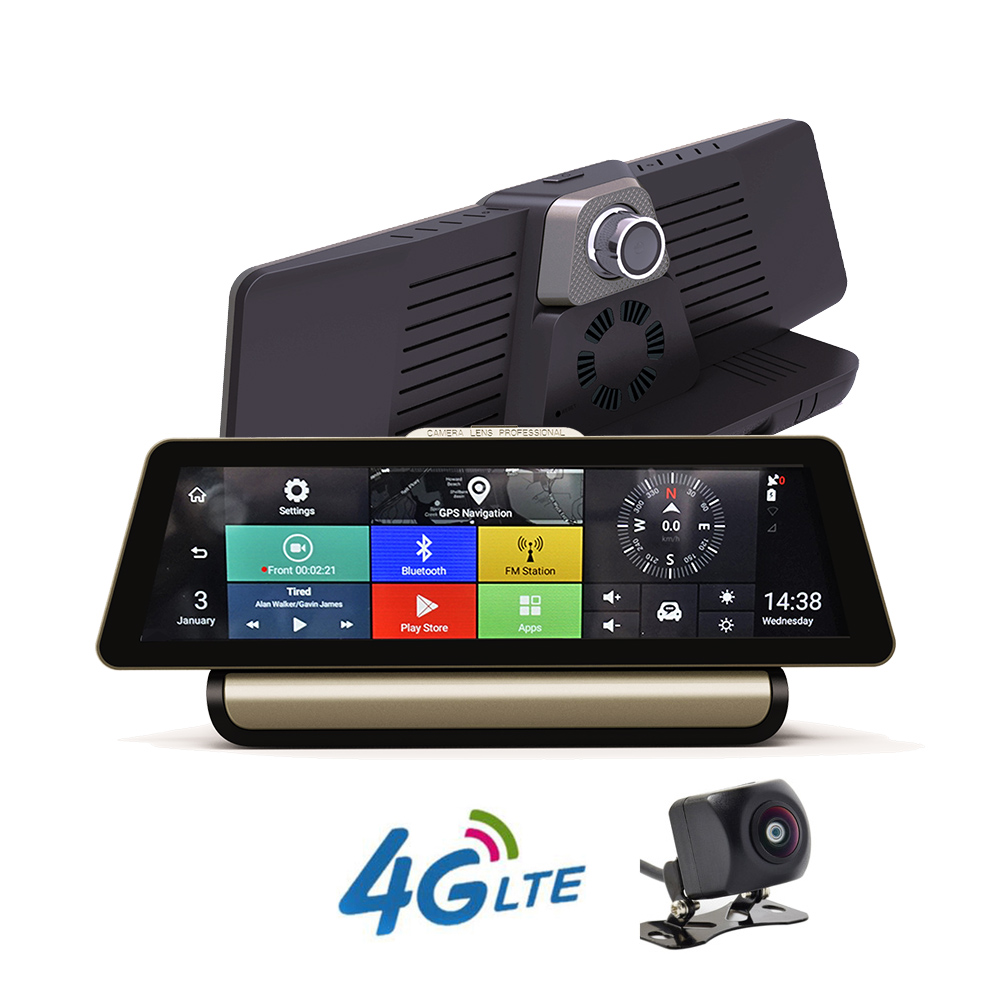10 Новый 4G Full Touch ips Автомобильный видеорегистратор с двумя объективами камера gps навигация Android 5,1 Bluetooth rom 16 Гб ram 1 Гб Full HD 1080 P