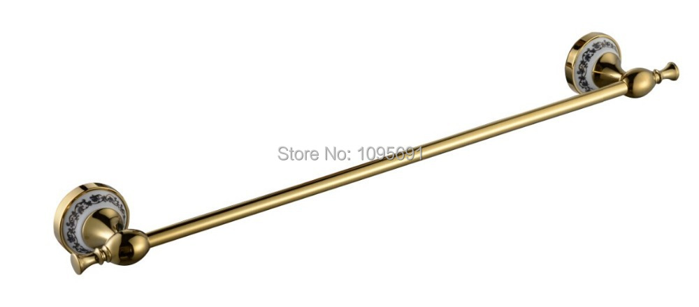 MAIDEER high quality  European style  golden brass+ceramic  towel rack single towel Bar  bathroom accessories