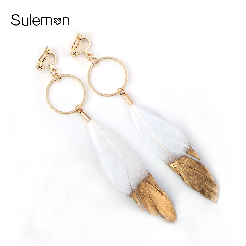 Feather Earrings For Women Geometry Metal Round Feather Clip Earrings Without Piercing Black White Feathers Long