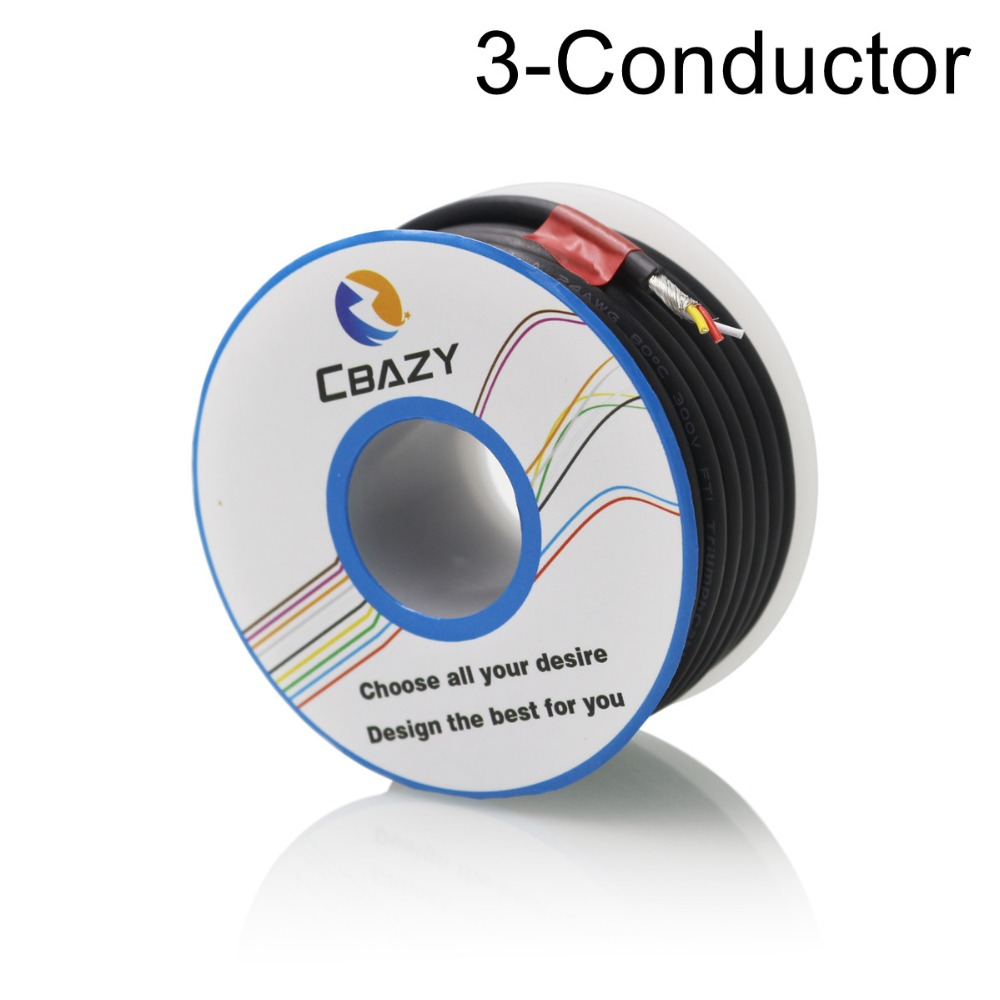 Cbazy Hook Up Wire Kit Stranded 26 Gauge Flexible Copper Electrical Conductor Bv Electric 28 3c Black 8m Ul 2547 Awg Multi Core Control