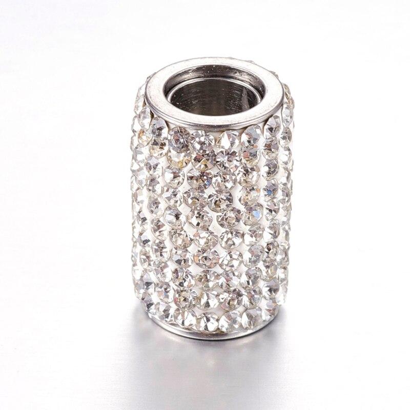 10 ensembles 304 fermoirs magnétiques en acier inoxydable strass, colonne, cristal, 18x12mm, trou: 6mm F80 - 3