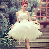 2015 New Arrival Ball Gown Short Lace Sweetheart Sequined Flower Elegant Women Formal Wedding Dress