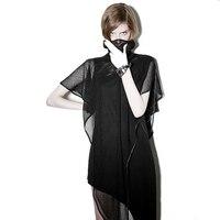 Rock Asymmetrical Hem Black Sleeveless Dress Mini Length Mesh Shawl Women Punk Casual Dresses Gothic Evening Party Club Clothing