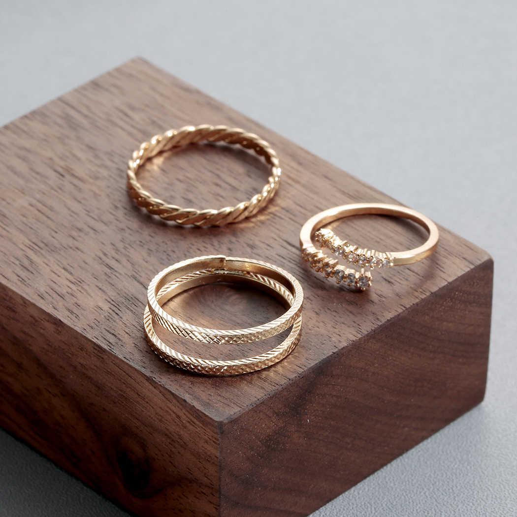 Todorova Punk Anel Anillos Warna Emas Stack Di Atas Knuckle Cincin untuk Wanita Kristal Polos Midi Band Finger Ring Set