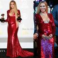 2017 Grammy Awards Red Carpet Beyonce Red Lantejoula Vestido de Noite de Maternidade para As Mulheres Grávidas Mangas Compridas Celebridade