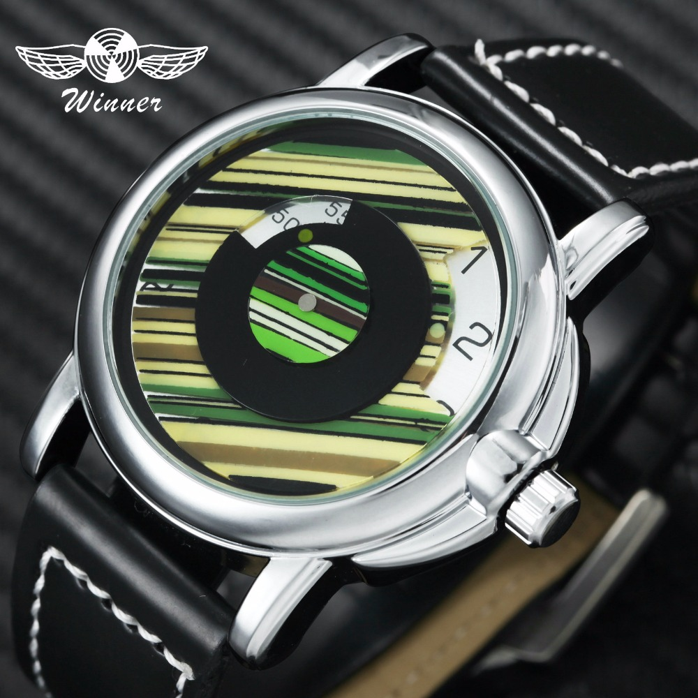 Auto Mechanical Rotational Dial Unique Leather Strap Green Wrist Watch For Man