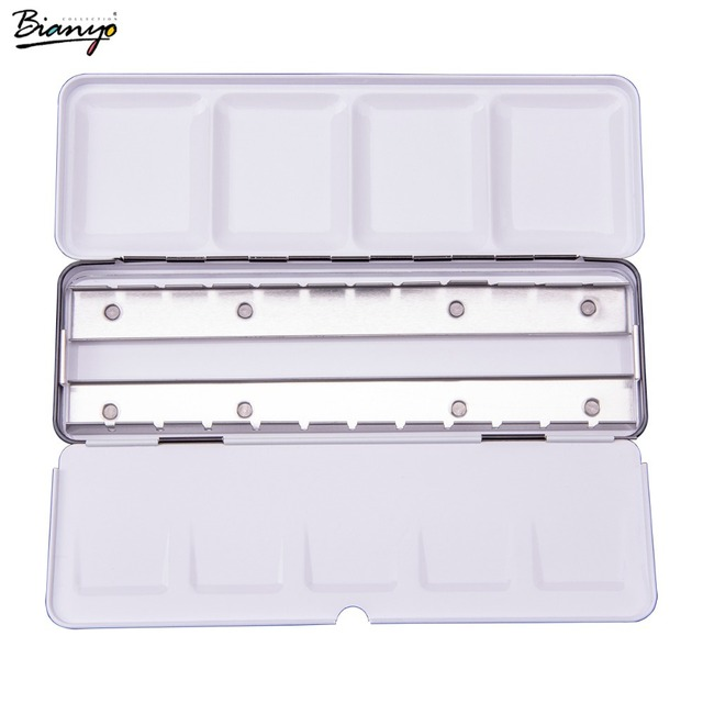 Bianyo Empty 24Color Solid Watercolor Cake Metal Box, Art Supplier Water Color Cake Palette, Sketch Pencil Paint Brush Case Set