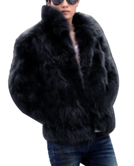 New 2016 winter men faux fur coat Black long section fashion winter warm fur coats Rabbit Turn-down Collar trends fur jacket
