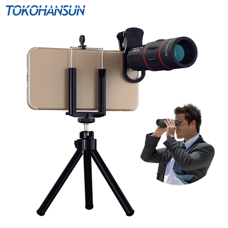 TOKOHANSUN 18X Telescope Zoom Mobile Phone Lens For iPhone xiaomi Smartphones universal For Camping hunting Sports