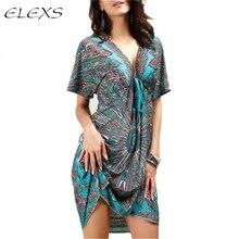 ELEXS летнее женское сексуальное платье Бохо глубокий v-образный вырез этнический цветочный принт Туника пляжные платья халат сексуальное повседневное шелковое платье E8407