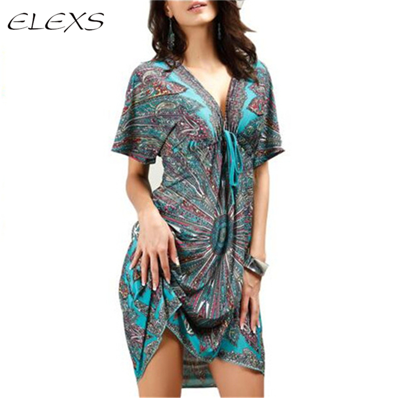 ELEXS Summer Women <font><b>Sexy</b></font> <font><b>dress</b></font> <font><b>Boho</b></font> Deep <font><b>V</b></font> Ethnic <font><b>Floral</b></font> <font><b>Print</b></font> Tunic <font><b>Beach</b></font> <font><b>Dresses</b></font> Robe <font><b>Sexy</b></font> Casual Silk <font><b>Dress</b></font> E8407 image