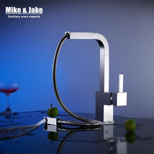 New chrome pull out kitchen faucet square brass kitchen mixer sink faucet mixer kitchen faucets pull out kitchen tap MJ5555