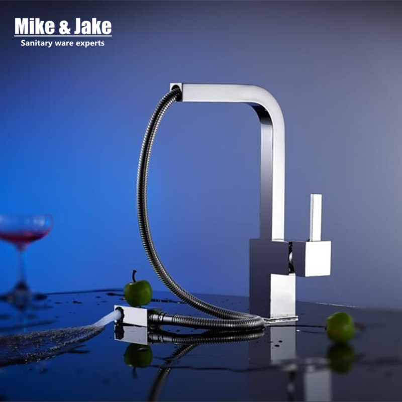New chrome pull out kitchen faucet square brass kitchen mixer sink faucet mixer kitchen faucets pull out kitchen tap MJ5555 newly arrived pull out kitchen faucet gold chrome nickel black sink mixer tap 360 degree rotation kitchen mixer taps kitchen tap