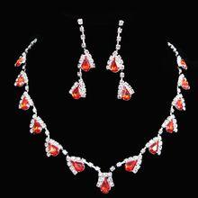 Jewelry Sets Wedding Rhinestone Crystal Bib Statement Necklace Earrings Set Brides Party Prom costume jewelry for women недорого
