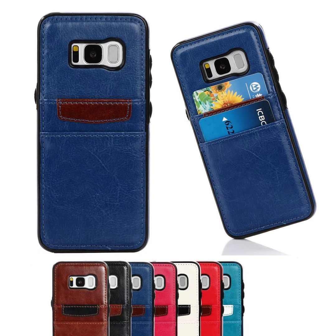 الحالات الجلدية الغطاء الخلفي حامي بطاقة ملحقات الهاتف موضة لسامسونج غالاكسي S6 S7 حافة حالة S8 زائد نوت 8 آيفون X 8