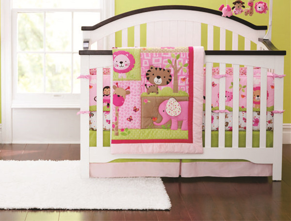 Promotion! 7pcs Embroidery crib bedding sets with filler,Crib linen baby bedding set,include (bumpers+duvet+bed cover+bed skirt)