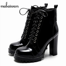 Mabaiwan 2017 Black Women Patent Leather Ankle Boots Chunky High Heel Casual Shoes Woman Platform Short Martin Boots Women Pumps