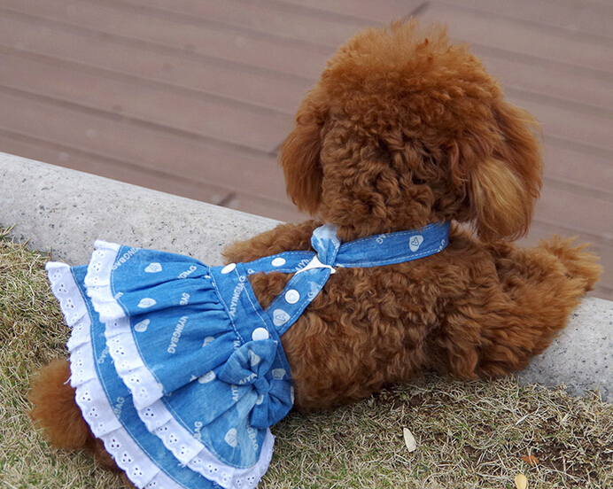 1pcs/lot puppy fashion denim vest skirts dogs cats summer tutu dress doggy costume pets supplies dog clothes XXS XS S M L XL