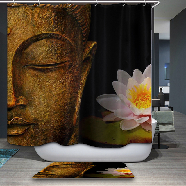 Buddha Shower Curtains Waterproof Polyester Fabric Bathroom Curtain With Hooks Custom For Home Decor
