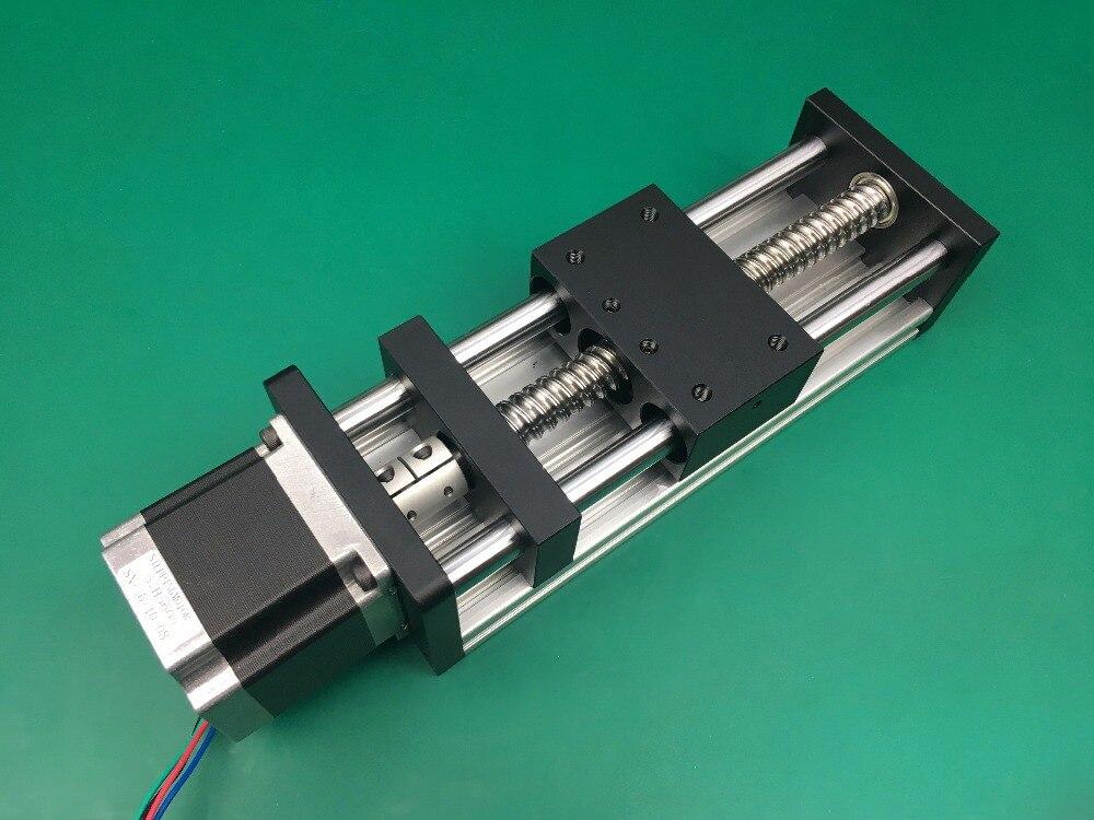 Personnaliser bloc 120x120mm GGP 1610 100mm vis à billes Table coulissante course efficace Guide Rail + 1 pc nema 23 moteur pas à pas