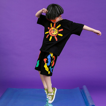 Children Hip Hop Clothing Oversized T Shirt Tops Casual Shorts for Girls Boys Jazz Dance Costumes Ballroom Dancing Clothes Wear 4