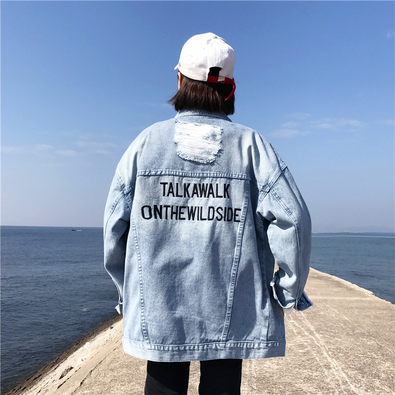 Harajuku Fashion Letter Print Washed Women Denim   Jacket   Vintage Cotton   Basic     Jacket   Mill White Loose Hole Denim   Jacket   Coat