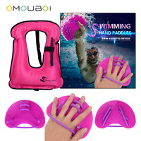 OMOUBOI Silicone String Adjustable Swim Training Hand Gloves Fins With Kids High Visible Pink Inflatable Float Swim Safety Vest