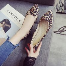 Women Flats Single Shoes Soft Leather shoe Non-Slip Leopard Pointed Toe Shoes woman 33-43