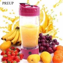 Preup 650 ml kleine elektrische automatische selbst rühren becher tragbare gemüse obst entsafter mixer selbst rühren becher saft 4 farben