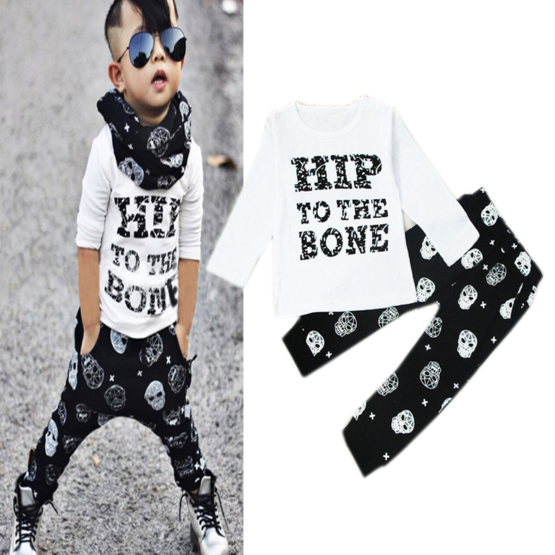 1 2 3 Years Boys Clothes Long Sleeve T-shirts Pants 2Pcs/Set Kids Suits 2017 Spring Autumn New Casual Children Clothing Set