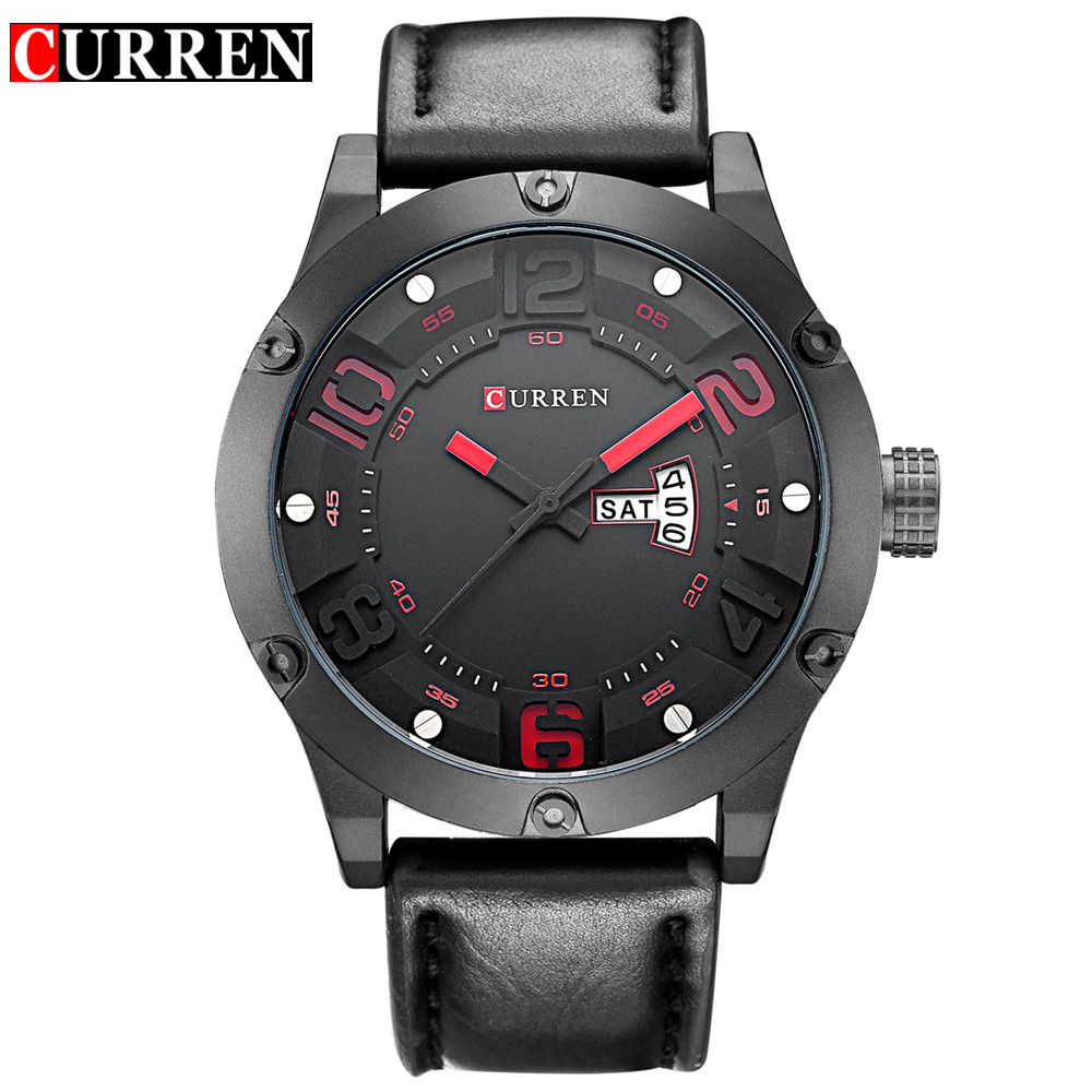 Curren New Fashion Casual Quartz Watch Men Top Brand Luxury Leather Strap Analog Sports Military Wrist Watch Relogio Masculino new ohsen analog digital watch men military alarm stopwatch rubber strap man quartz wrist watch kids sports watch hombre relogio