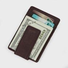 Men Retro Genuine Leather Money Clip Front Pocket Clamp for Money Holder Magnet Credit Case Holder Slim Wallet billetera hombre
