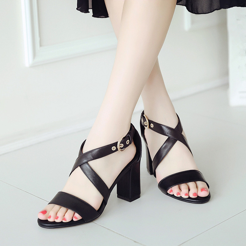 YMECHIC 2018 Fashion Stable High Heels Sandals Women Brown Black Cross Strap Genuine Leather Sandal Summer