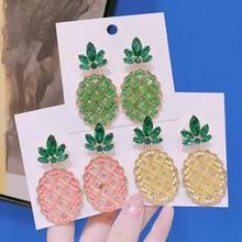2019 New Top Design Pineapple Earrings For Women Korean Temperament Statement Crystal Drop Fashion Jewelry