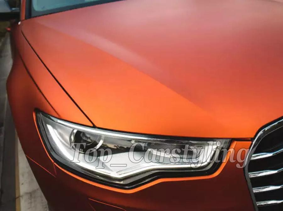 Style Orange Car Satin Matte Metal Metallic Chrome Vinyl Wrap Sticker Film HD