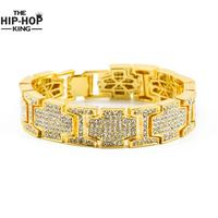 Rappers Style Hip Hop Bracelet Silver Tone Iced Out Bling Men Steampunk Bracelet