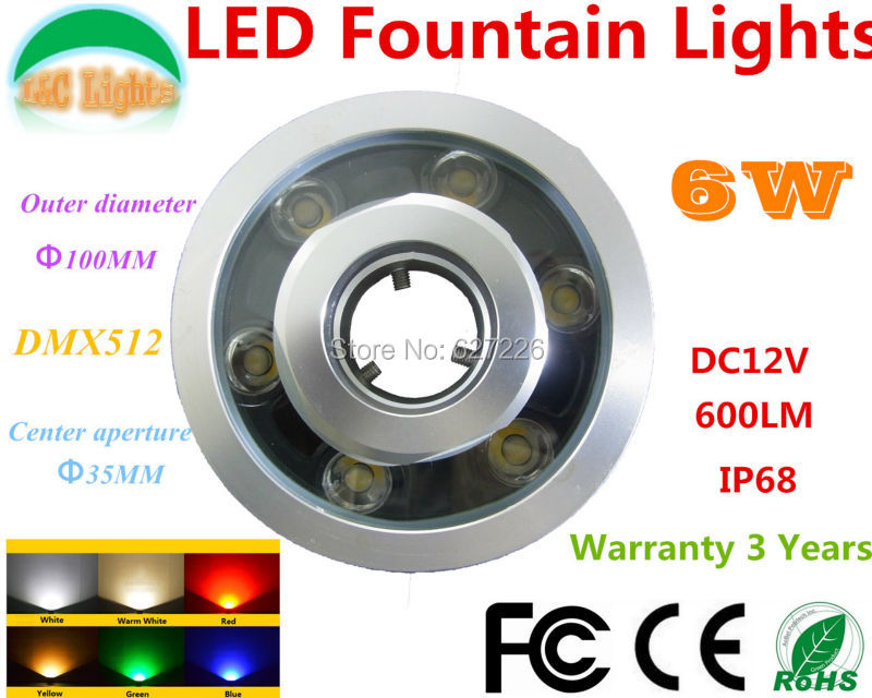 6W RGB Warna-warni Berubah Warna LED Underwater Light 12V IP67 Lampu Air Mancur Tahan Air DMX 512 3 Saluran LED Kolam Renang Lights