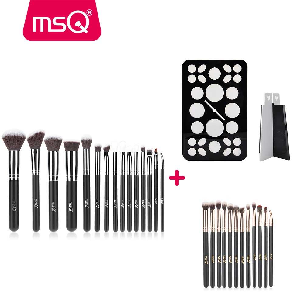 MSQ Professionnel 15 pcs + 12 pcs Maquillage Pinceaux Poudre Fard À Paupières Fondation pincel maquiagem Pinceaux de Maquillage Combinaison