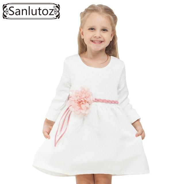 2016 Crianças Roupas de Inverno Crianças Vestir (+ cinto) flor Marca Roupas de Menina Princesa Festa de Natal Do Casamento Da Criança Do Bebê Do Outono