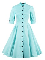 Sisjuly Women Summer Dress Girl Green Turquoise Stand Collar Dresses Half Sleeve Single Breasted Knee Length