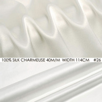SILK CHARMEUSE SATIN 114cm width 40momme/100% Pure Silk Fabric Meter Heavy Silk Natural White Wedding Dress Party Dress NO 26