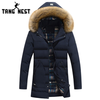 TANGNEST 2017 Hat Detachable Long Style Coat Casual Thick Winter Jacket Men Three Colors Warm Good