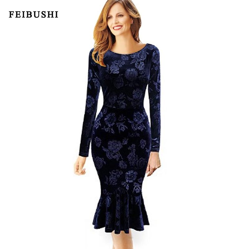 FEIBUSHI Gown Velvet Dresse Blue Plain Elegant Floral ...
