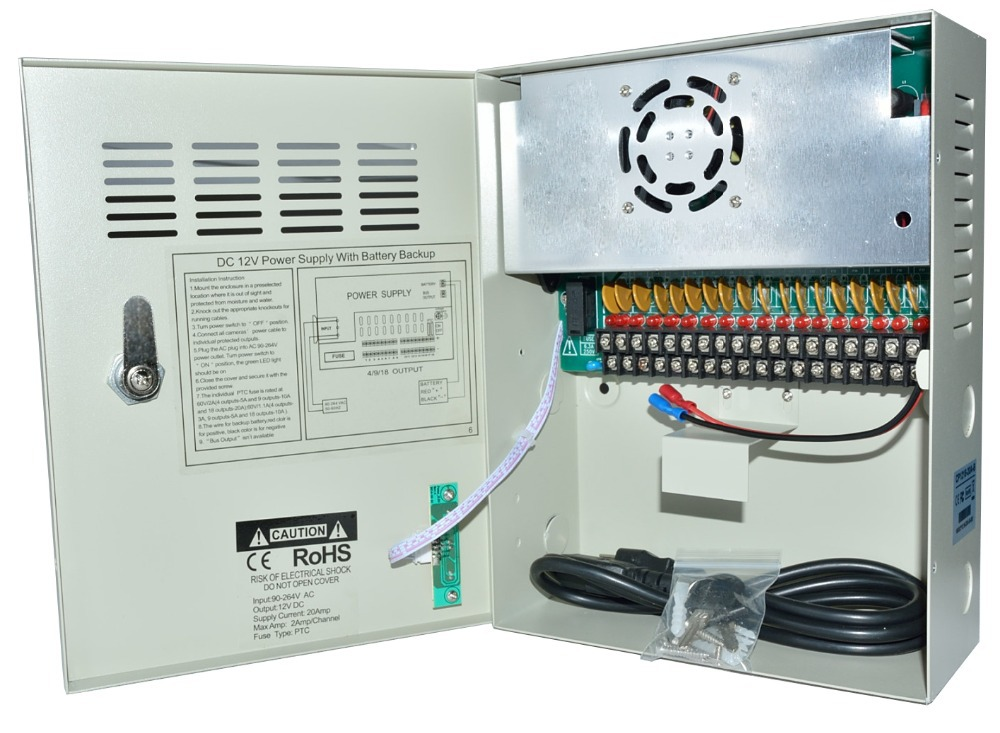 High Quality CE FCC ROHS Certification 18CH CCTV Power Supply Uninterrupted 12V 20A CCTV Power Box