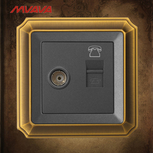 MVAVA TV+TEL Wall  Decorative Socket Television and RJ11 Telephone Plug Port Jack Outlet Luxury Bronzed Panel Free Shipping free shipping 86 standard tv and tel wall switch socket panel eu uk television telephone wall socket