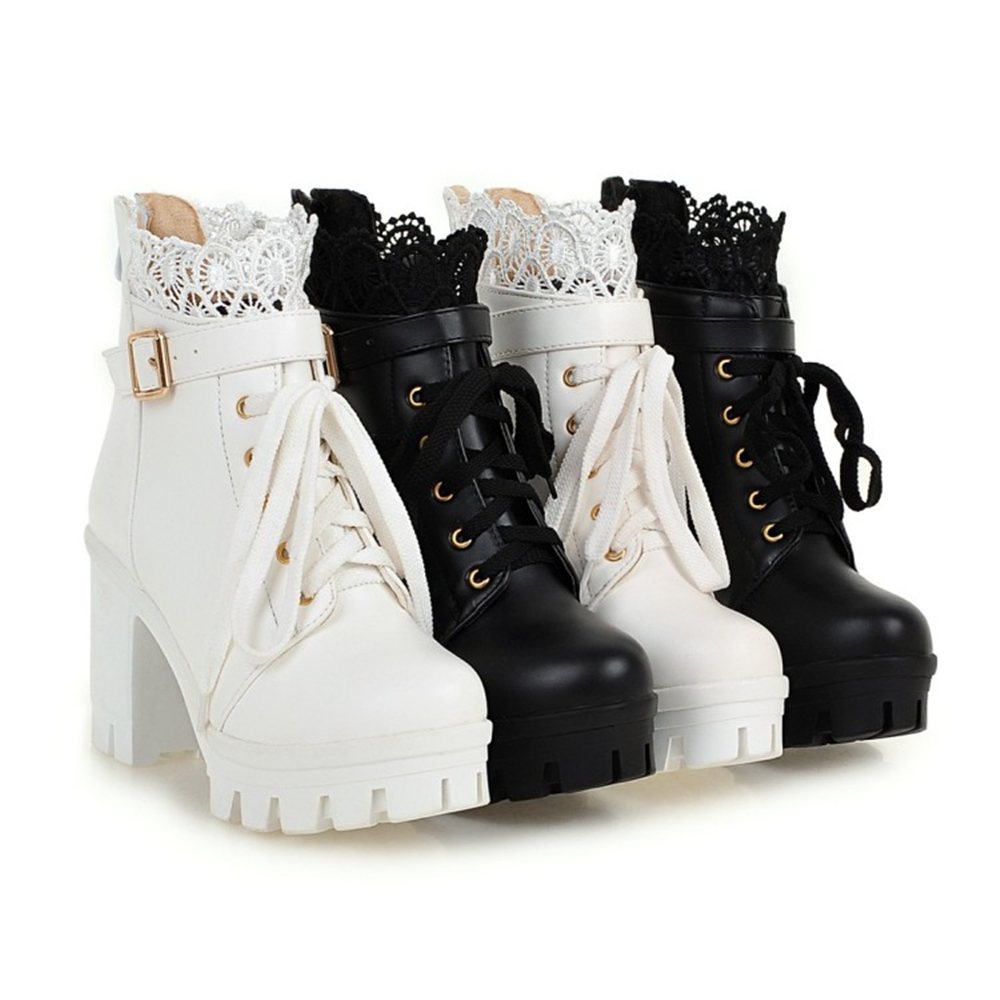 все цены на 9.5cm High Heels PU Leather Thick Platform Lace-Up Elegant Ankle Boots for Female