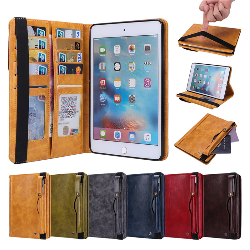 leather Case for iPad 9.7 2018 2017 with stylus pen holder 5th 6th generation tablet stand for iPad 5 6 case flip full cover